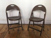 Vintage Stoe Bentwood Wooden Folding Slatted Chairs Indoor Outdoor Garden Patio