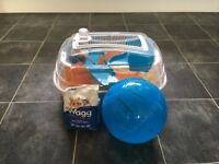 Male Hamster with Cage, Food and Ball