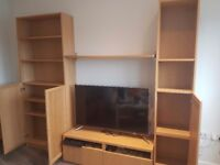 Two piece bookshelf and tv stand