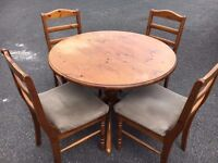 Solid Wood Dining Table & 4 Vintage Velvet Covered Chairs