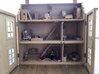 Dolls House with furniture and play figures