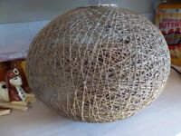 A large vintage string/ratten? round pendant ceiling shade