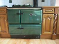 Stanley oil fired range cooker in mid green