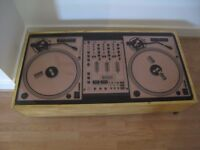 DJ's LOOK!Awesome Technics decks printed on 12mm thick glass ! of only 2 made for DJ Charlie Sloth!