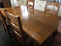 Solid Oak Kitchen/Dining table with Six Chairs