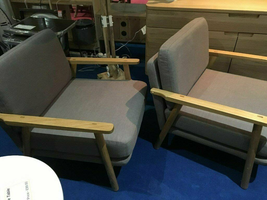 Accent Chairs Sold In Pairs.Matching Pair Made 2x Lars Solid Oak Accent Chair Diego Natural Rrp 798 In Haslingden Lancashire Gumtree