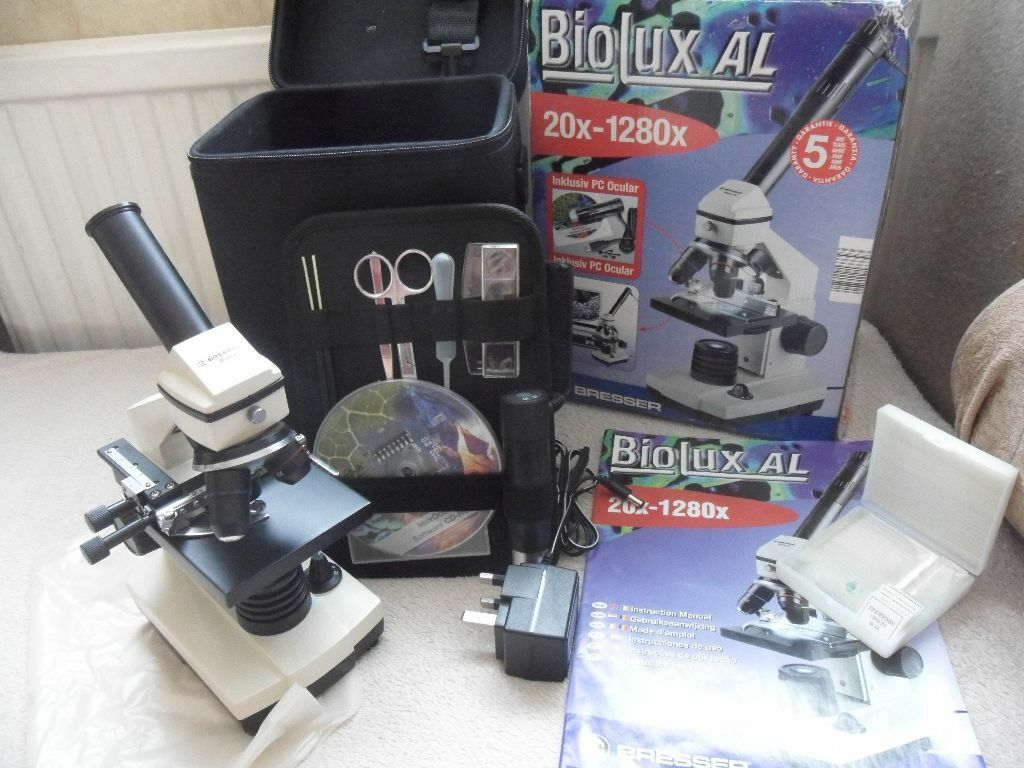 Bresser biolux al microscope boxed complete with