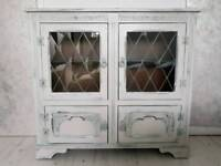 Stunning hand painted solid wooden winter gray sideboard with glass doors