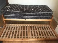 Single bed frame with pull out bed two mattresses