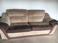 3 Seater & 2 Seater Brown Sofas