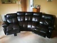 Leather corner sofa and storage foot stool.