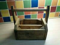RUSTIC WOODEN GARDEN TRUG CADDY TOOL BOX TRUG CARRIER WITH HANDLE