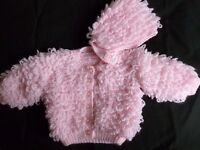 Hand knitted beautiful and brand new pink baby loopy jacket and matching hat