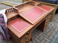 Antique Dickens Desk with Red Leather Inlay