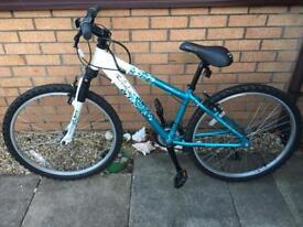 """Girls 14"""" frame 26"""" wheel Halfords Apollo twilight turquoise and white bike"""