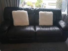3 piece electric dark brown reclining suite.