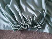 Very long 108 inch drop fully lined curtains, practically brand new - duck egg colour