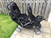 Graco tandem double pushchair with rain cover, foot muff and play trays
