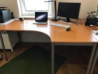 Large Corner desk for home office in birch colour and grey legs (right hand)