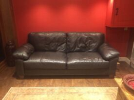 Leather sofa large 2 seater get /brown measures 2metres width and 93cm depth excellent condition