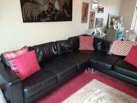 Black Laura Ashley Leather Corner Sofa