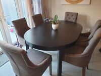Baumhaus Shiro Walnut Accent Upholstered 6 Dining Chairs + Ikea Bjursta Retractable Table