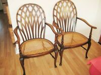 Most Delightful Pair Of Mid Victorian Antique Wooden Armchairs.