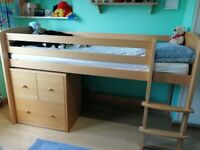 Aspace Raised Junior Cabin Bed plus matching 3-drawer Chest in beech (incl. mattress)