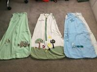 9 baby grobags / sleeping bags of various sizes and thickness
