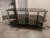 Black Glass and Chrome TV Stand, up to 55''
