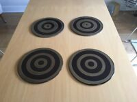 Set of 4 Ceramic 11 inch Circular Rubber Backed Place Mats
