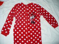 Disney Minnie Mouse warm fleece onesie/pyjamas with zip for 7-8 years. Excellent condition!