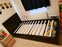 Single leather bed frame