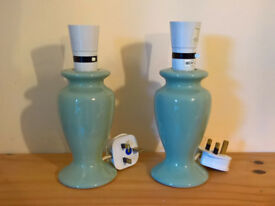 Colour matching pair of green lamp stands (no shades)