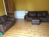 2 piece brown leather sofa with footstool