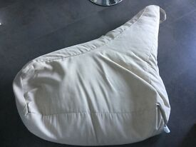 Cream, L shaped beanbag chair