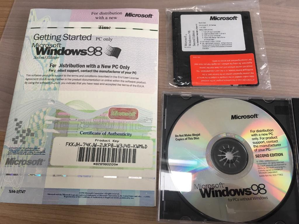 Microsoft Windows 98 Second Edition Cd Amp Floppy Disk In