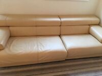 Luxury leather beige sofa 3 sweaters