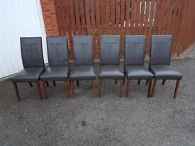 6 Brown Leather Chairs FREE DELIVERY 042