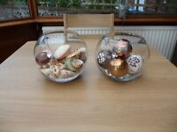 Bargain Two Glass Globe Fish Bowl Vase Including Decoration Sea Shells Glass Nuggets And Pot Balls