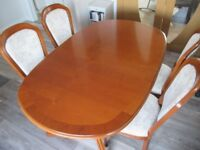 Cherry Extending Dining Table and Four Chairs