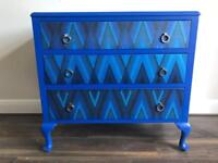 Queen Ann spray-painted/decoupage chest of drawers - UK delivery available