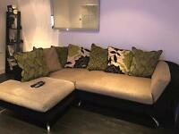 Furniture Village Left Hand Sofa Good Condition - black beige green