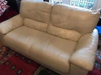Cream leather sofas 1 x 3 seater, 1x 2 seater