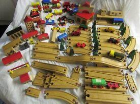 MASSIVE Vintage BRIO SET / ELC / Thomas Tank Wooden Train Set TRACK, BUILDINGS ETC
