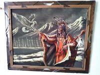 Oil on Velvet Sanchez Native American Painting