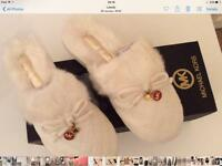 Michael Kors genuine faux fur slippers size 5 with bow & cute discs to front upper Selfridges new