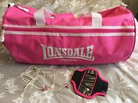 Lonsdale large sports/ swimming/ gym bag with arm strap and earphones