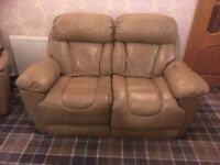 taupe leather electric reclining sofa & two electric armchairs