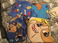 Paw patrol quilt covers and a pair of curtains